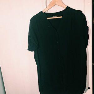 EXPRESS L black oversized button blouse